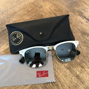 RAY BAN Aluminum Frame Clubmaster Sunglasses